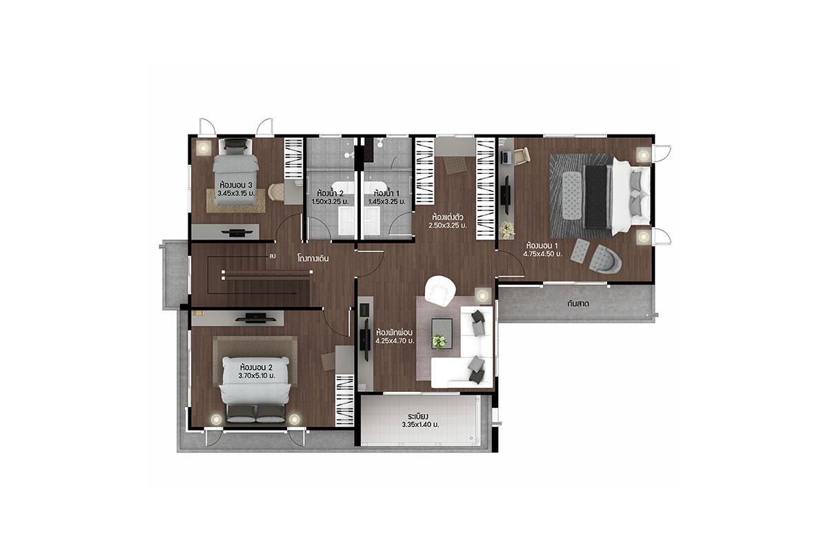 แบบบ้านสวย แบบบ้านสไตล์รีสอร์ท Emerald แบบบ้านครอบครัวใหญ่ แบบบ้านเพื่อผู้สูงอายุ