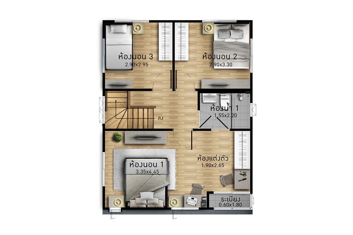 แบบบ้านสวย แบบบ้านสไตล์โมเดิร์น คณาภัทร แบบบ้านครอบครัวเล็ก เรือนหอ