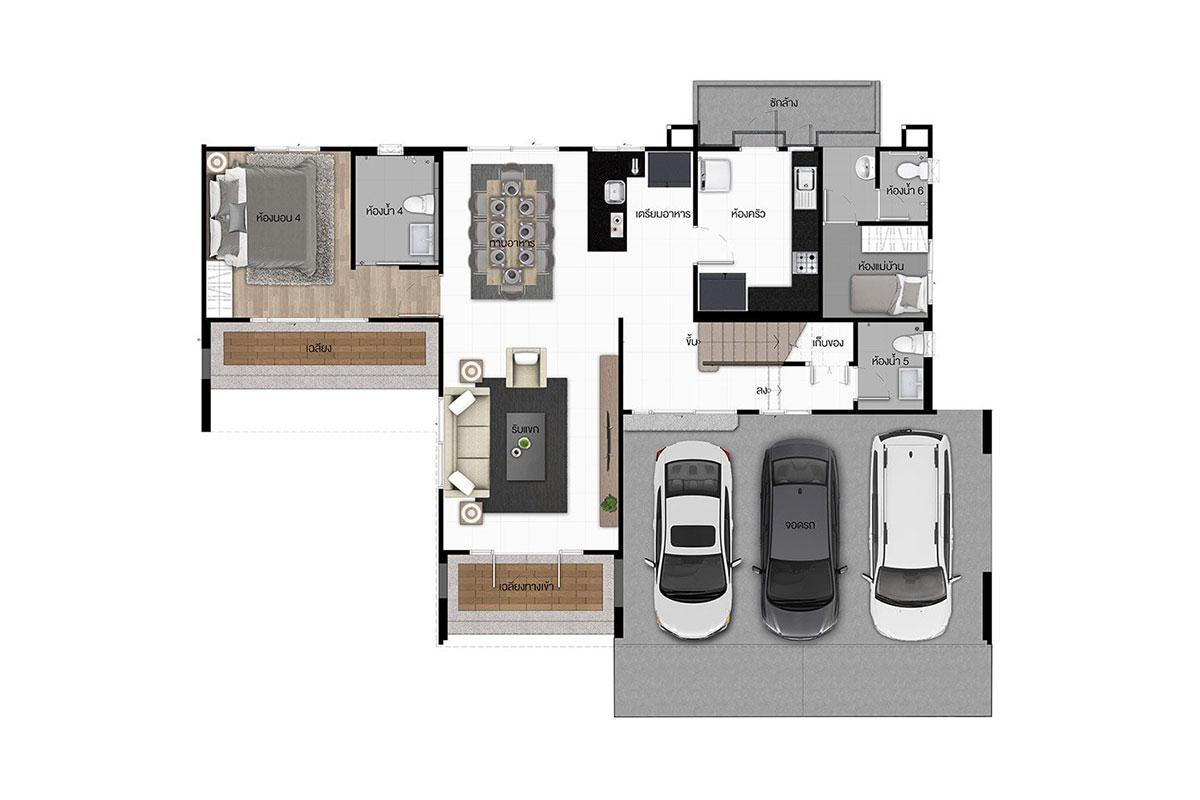 แบบบ้านสวย แบบบ้านสไตล์โมเดิร์น ดาราทอง แบบบ้านครอบครัวใหญ่ แบบบ้านเพื่อผู้สูงอายุ