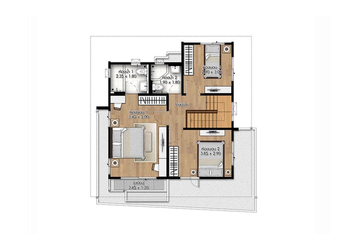 แบบบ้านสวย แบบบ้านสไตล์โมเดิร์น The Ambassador แบบบ้านครอบครัวเล็ก เรือนหอ