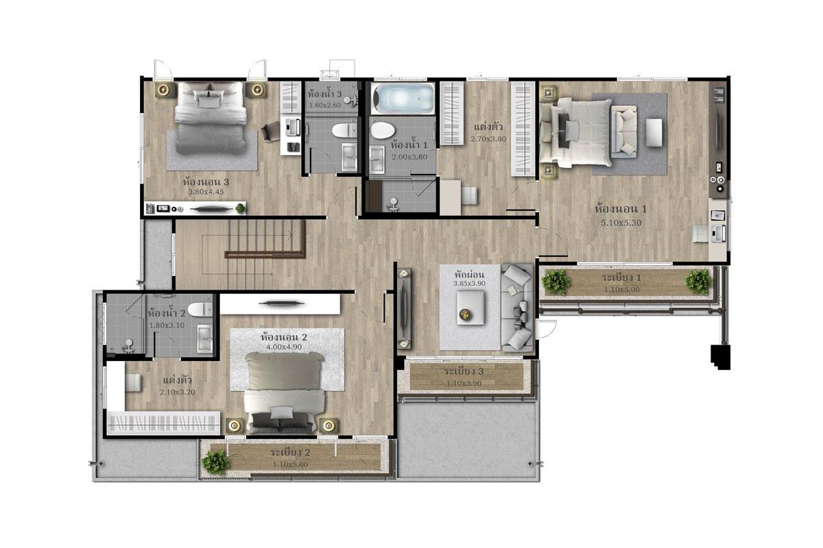 แบบบ้านสวย แบบบ้านสไตล์รีสอร์ท GRACIOUS แบบบ้านครอบครัวใหญ่ แบบบ้านเพื่อผู้สูงอายุ