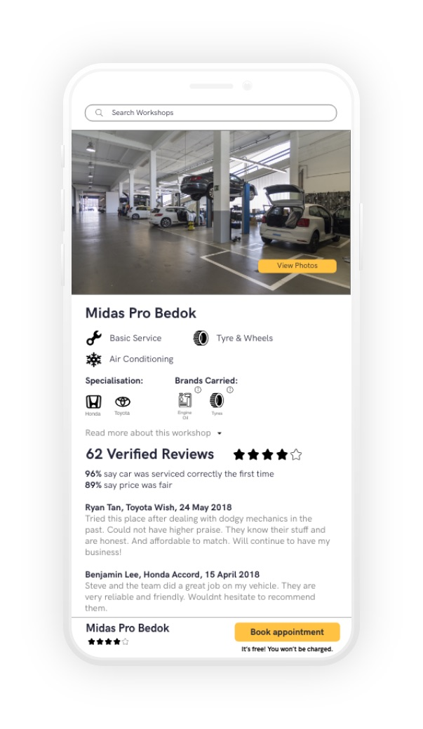 mockup of verified car workshop page, showing car workshop, verified reviews, and booking button