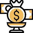 dollar bills on a stand