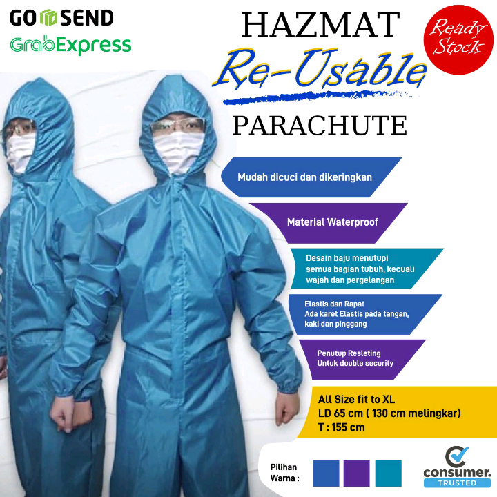Stok Baju APD Waterproof Tosca / Hazmatsuit Reusable Parachute / Coverall1