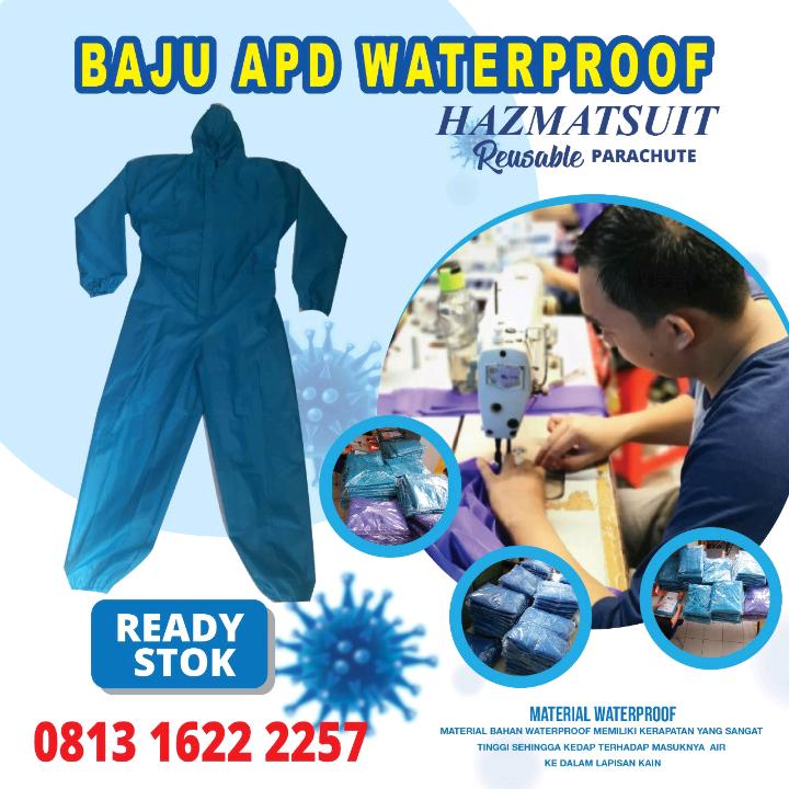 Stok Baju APD Waterproof Tosca / Hazmatsuit Reusable Parachute / Coverall3