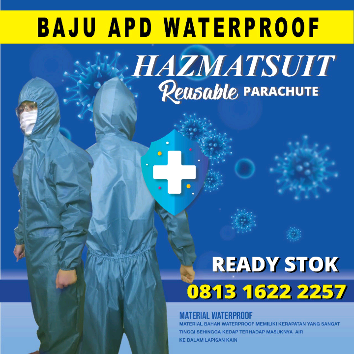 Stok Baju APD Waterproof Tosca / Hazmatsuit Reusable Parachute / Coverall4