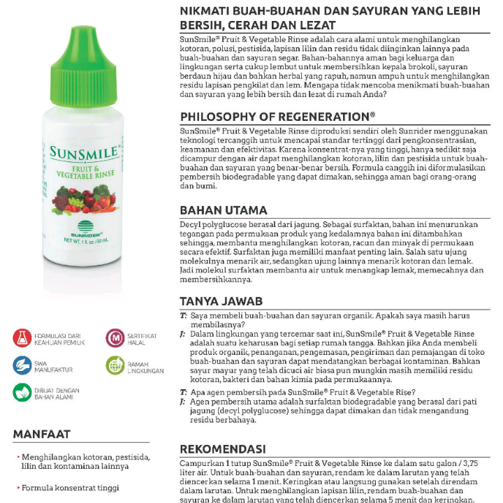 Sunrider Sunsmile Fruit And Vegetable Rinse, Paket 4 Botol2