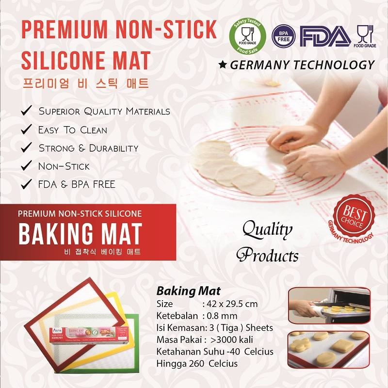 Asta Homeware Baking Mat / Silpat / Silmat / Silicone Non-stick  ( 3 Pcs In 1 Box )
