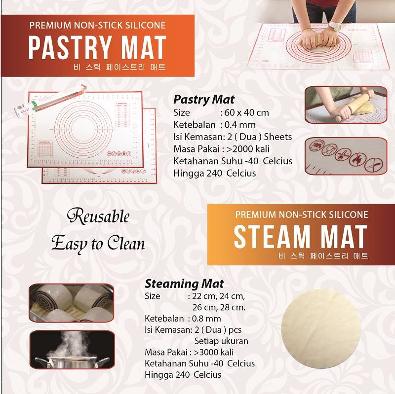 Asta Homeware Pastry Mat / Silpat / Silmat / Silicone Non-stick  ( 2 Pcs In 1 Box )