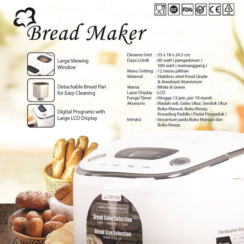 Bread Maker Pembuat Roti Impressa Green/white3
