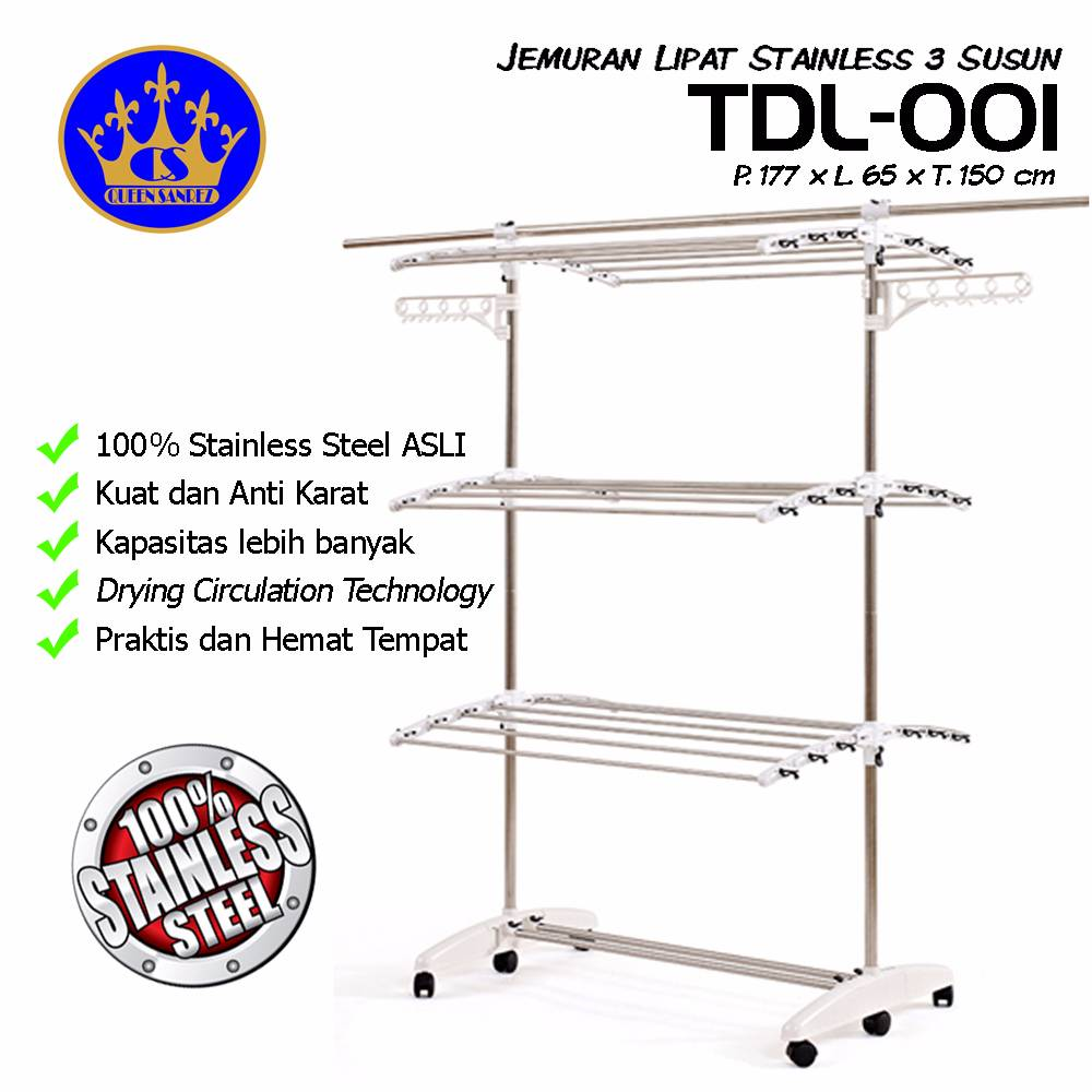 Jemuran Lipat Stainless Steel 3 Susun