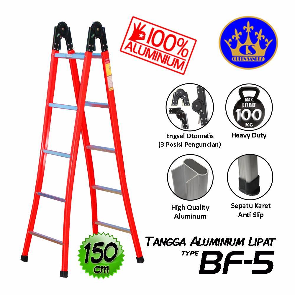 Tangga Aluminium Lipat Engsel Otomatis 150 Cm (bf-5)