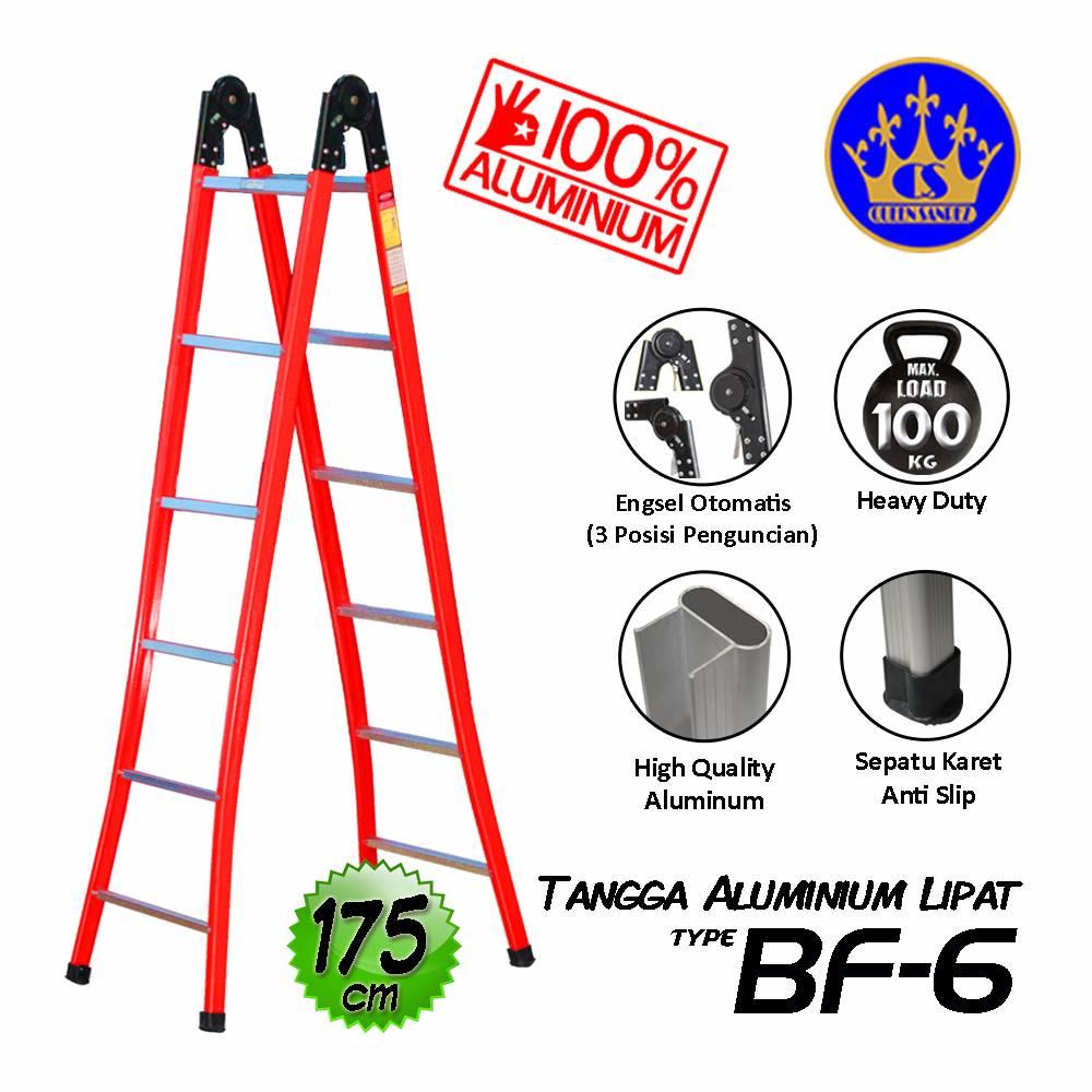 Tangga Aluminium Lipat Engsel Otomatis 175 Cm (bf-6)