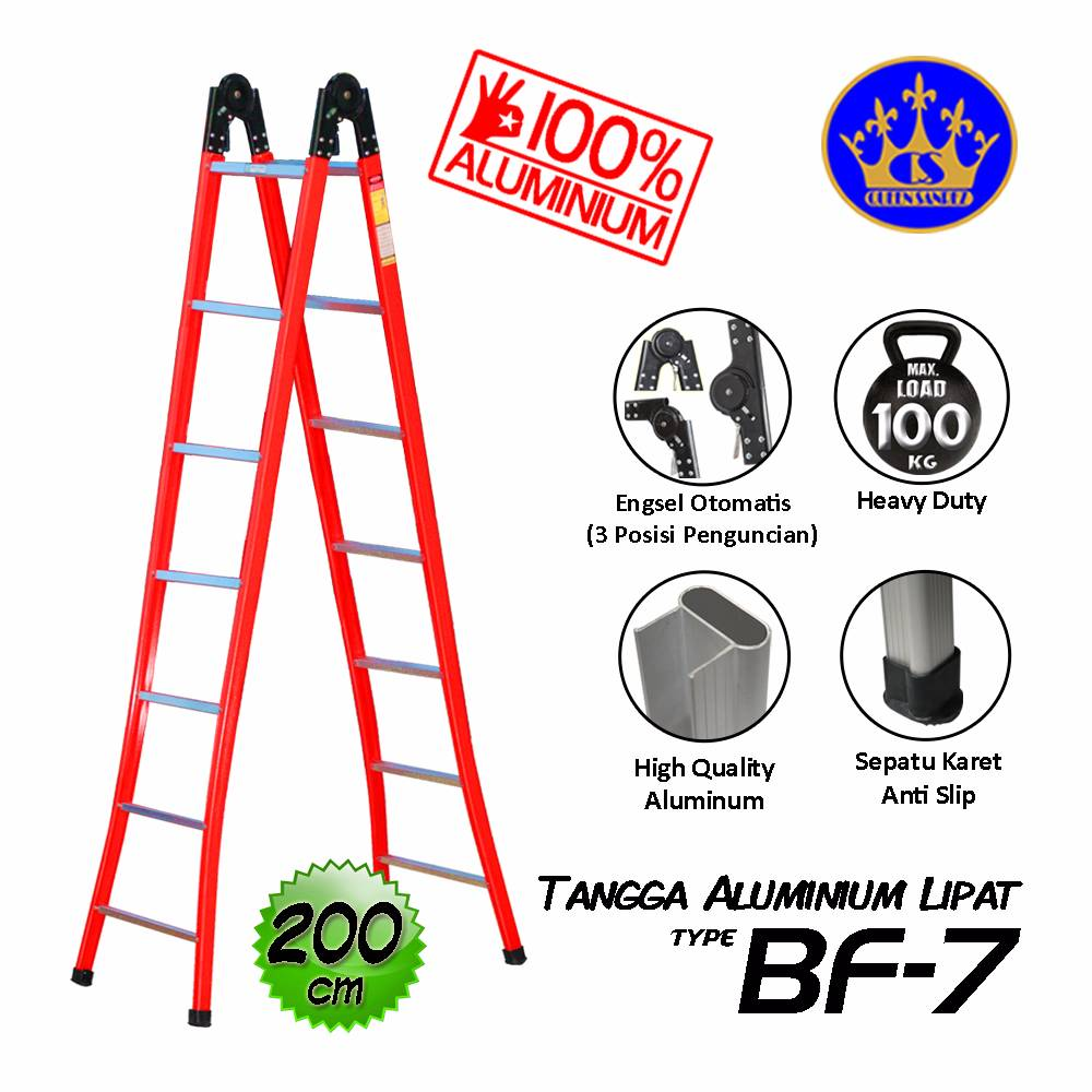 Tangga Aluminium Lipat Engsel Otomatis 200 Cm (bf-7)