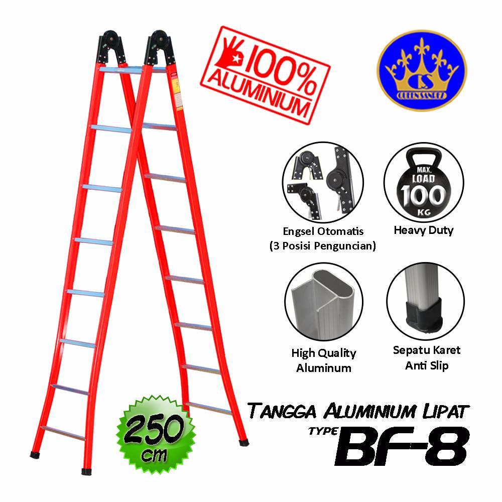 Tangga Aluminium Lipat Engsel Otomatis 260 Cm (bf-8)