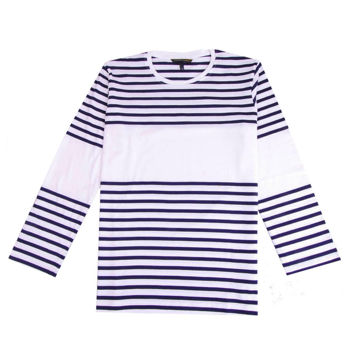 Kaos Tangan Panjang Chad White Navy Stripe Ls