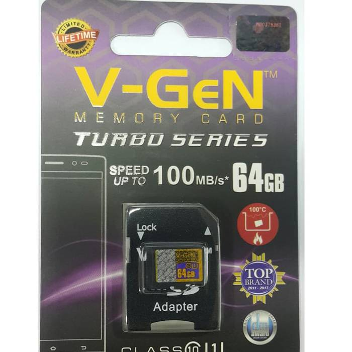 Micro Sdxc V-gen Turbo 64gb + Adapter Class 10 85mb/s (microsd Vgen)1