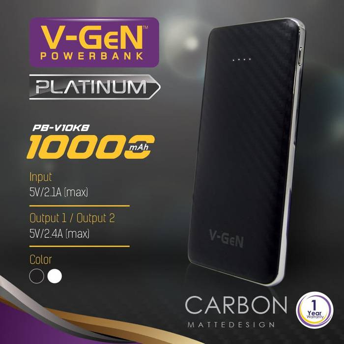 Powerbank V-gen Platinum V10k8 10000 Mah (power Bank Vgen) Powerbank V-gen Platinum V10k8 ...