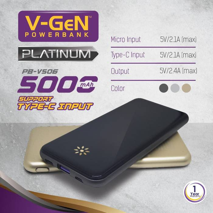 Powerbank V-gen Platinum V506 5000 Mah (power Bank Vgen) Powerbank V-gen Platinum V506 5000 Mah