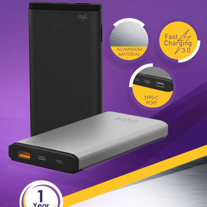 Powerbank V-gen Platinum V10k7 Fast Charging 10000 Mah Power Bank Vgen