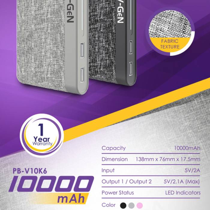 Powerbank V-gen Platinum V10k6 10000 Mah (power Bank Vgen)2