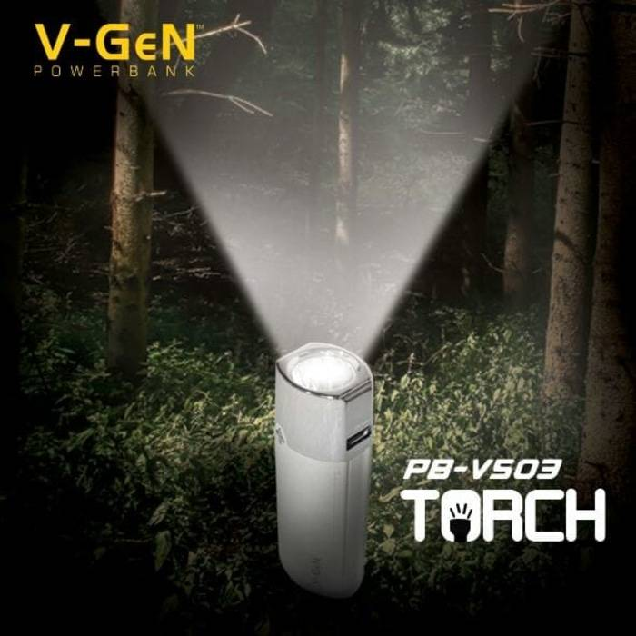Powerbank V-gen V503 High Light Torch 5000 Mah (powerbank Vgen)1
