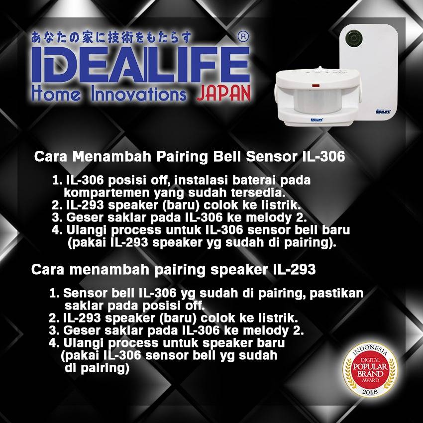 Idealife - Ac Wireless Doorbell Speaker - Bel Pintu Listrik (il-293) (manual Coding)2