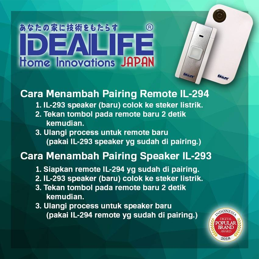Idealife - Ac Wireless Doorbell Speaker - Bel Pintu Listrik (il-293) (manual Coding)4