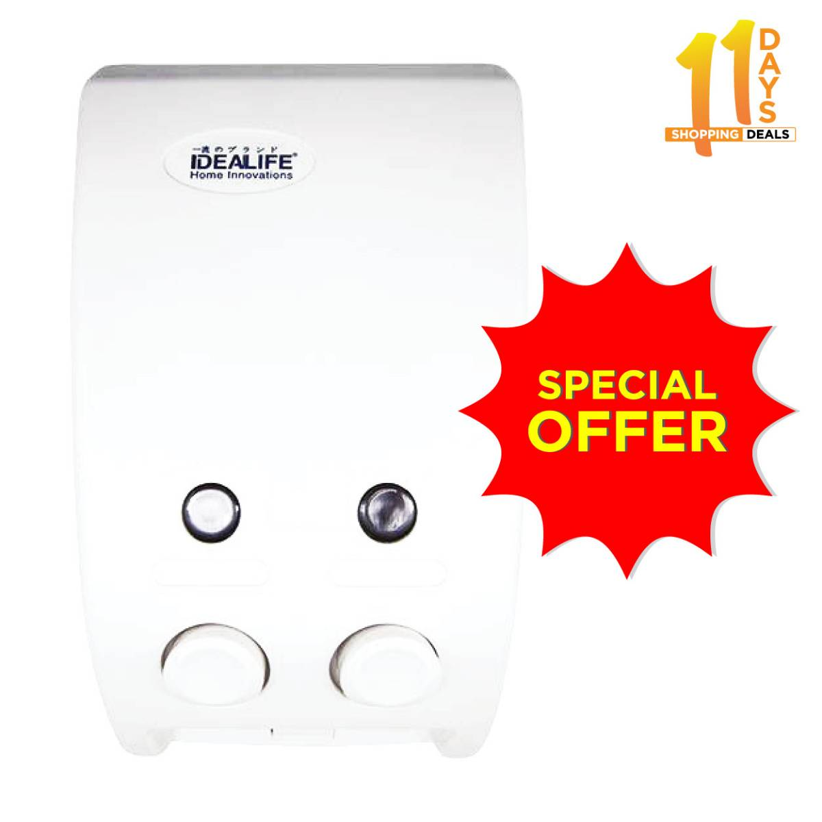 [promo Fbo 11.11] Idealife - Liquid Dispenser (2 Buttons) - Tempat Sabun Cair 2 Tabung - I...