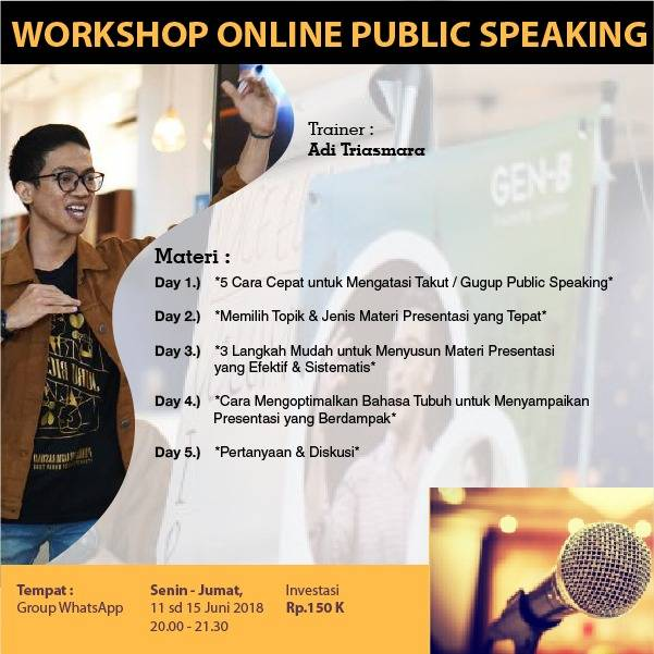 "Ugd: Workshop Online ""public Speaking"""