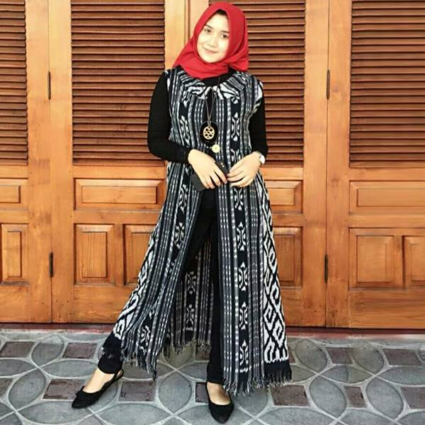 Long Cardigan Tenun Wanita