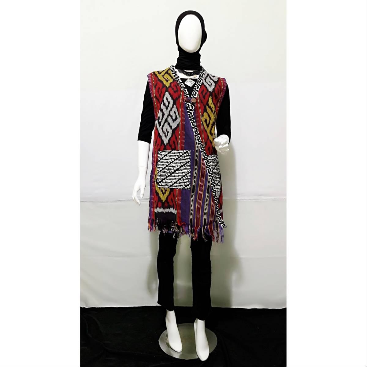 Outer Batik Saku kombinasi Tenun2
