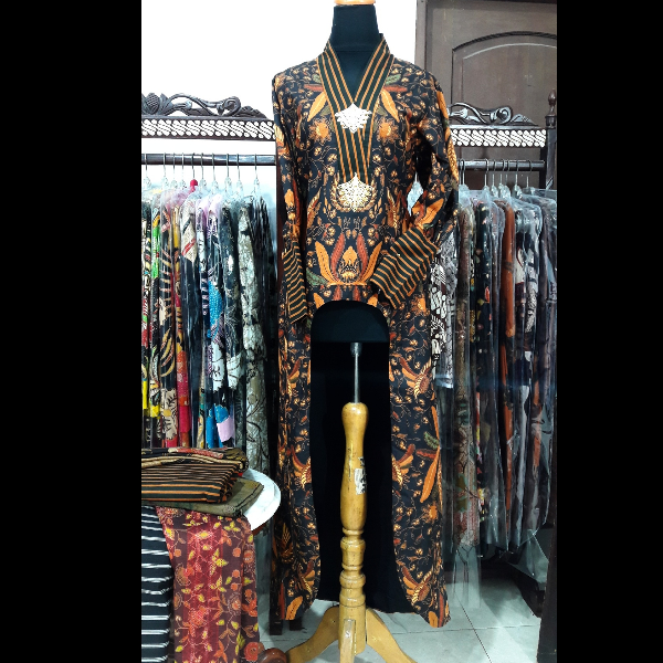 Long Dress Batik Sogan Tenun Lurik
