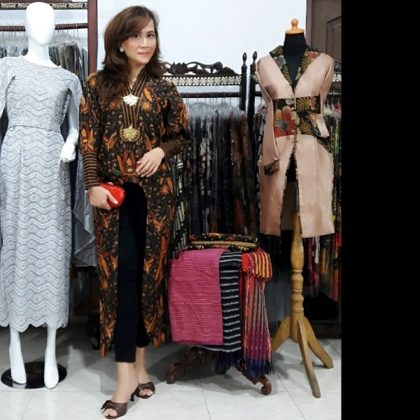 Long Dress Batik Sogan Tenun Lurik1