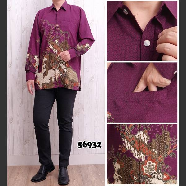 Batik Pria Bsy 56932 Lengan Panjang Ungu0