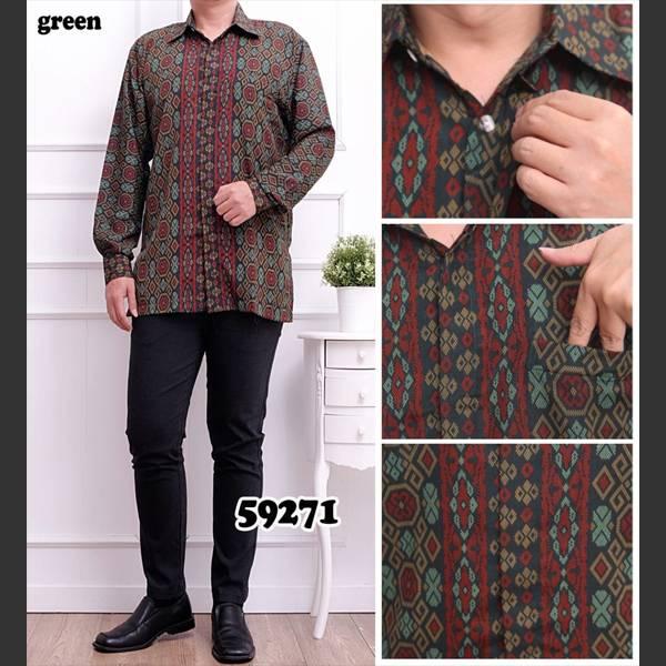 Batik Pria Bsy 59271 Lengan Panjang Hijau