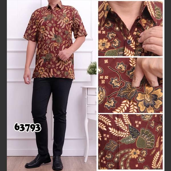 Batik Pria Katun 63793 Lengan Pendek Coklat0