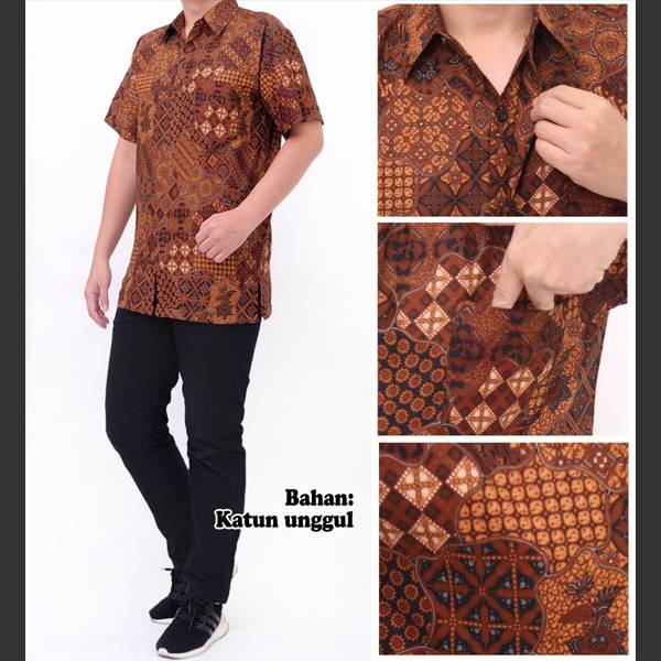 Batik Pria Katun Unggul Lengan Pendek