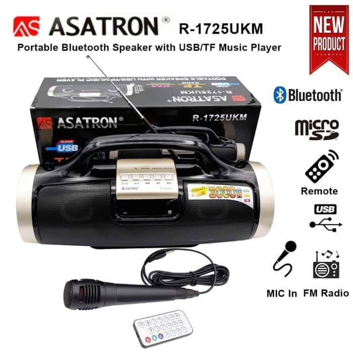 Speaker Mic Portable Bluetooth Asatron R-1725 Usb Fm Radio0