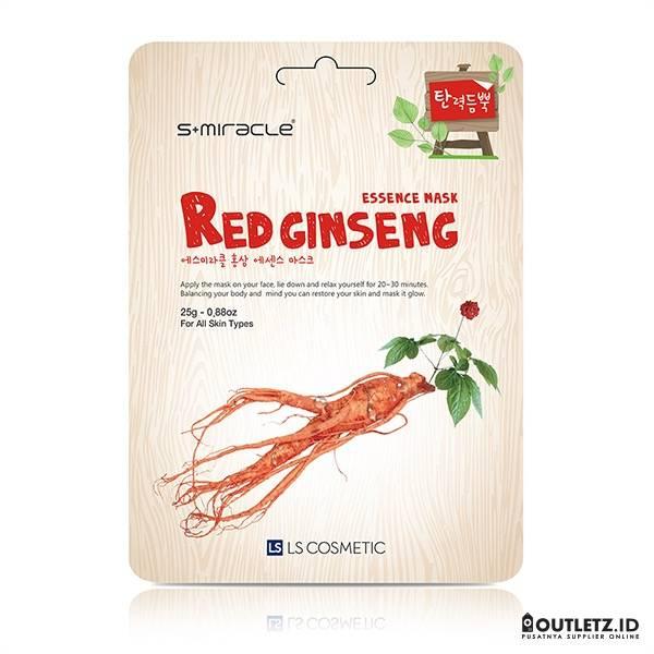 Masker Wajah Korea Red Gingseng - S+miracle Red Ginseng Essence Mask0