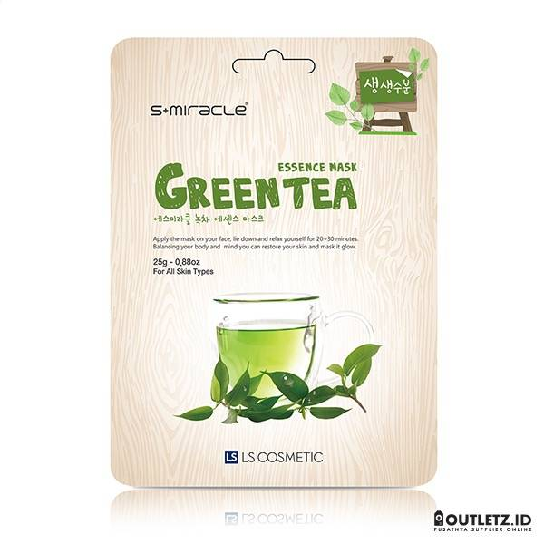 Masker Wajah Korea Green Tea - S+miracle Green Tea Essence Mask1