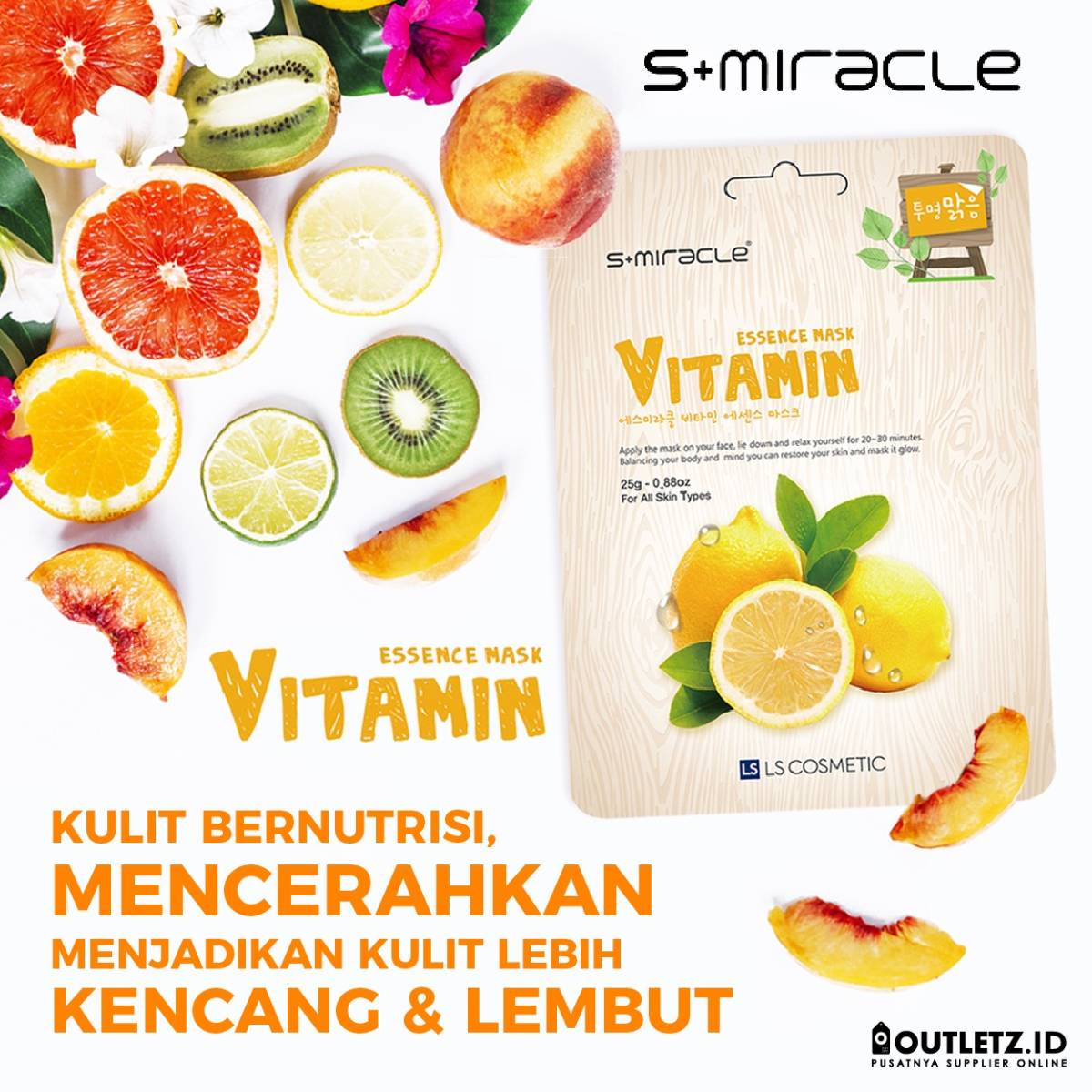 Masker Wajah Korea Vitamin - S+miracle Vitamin Essence Mask