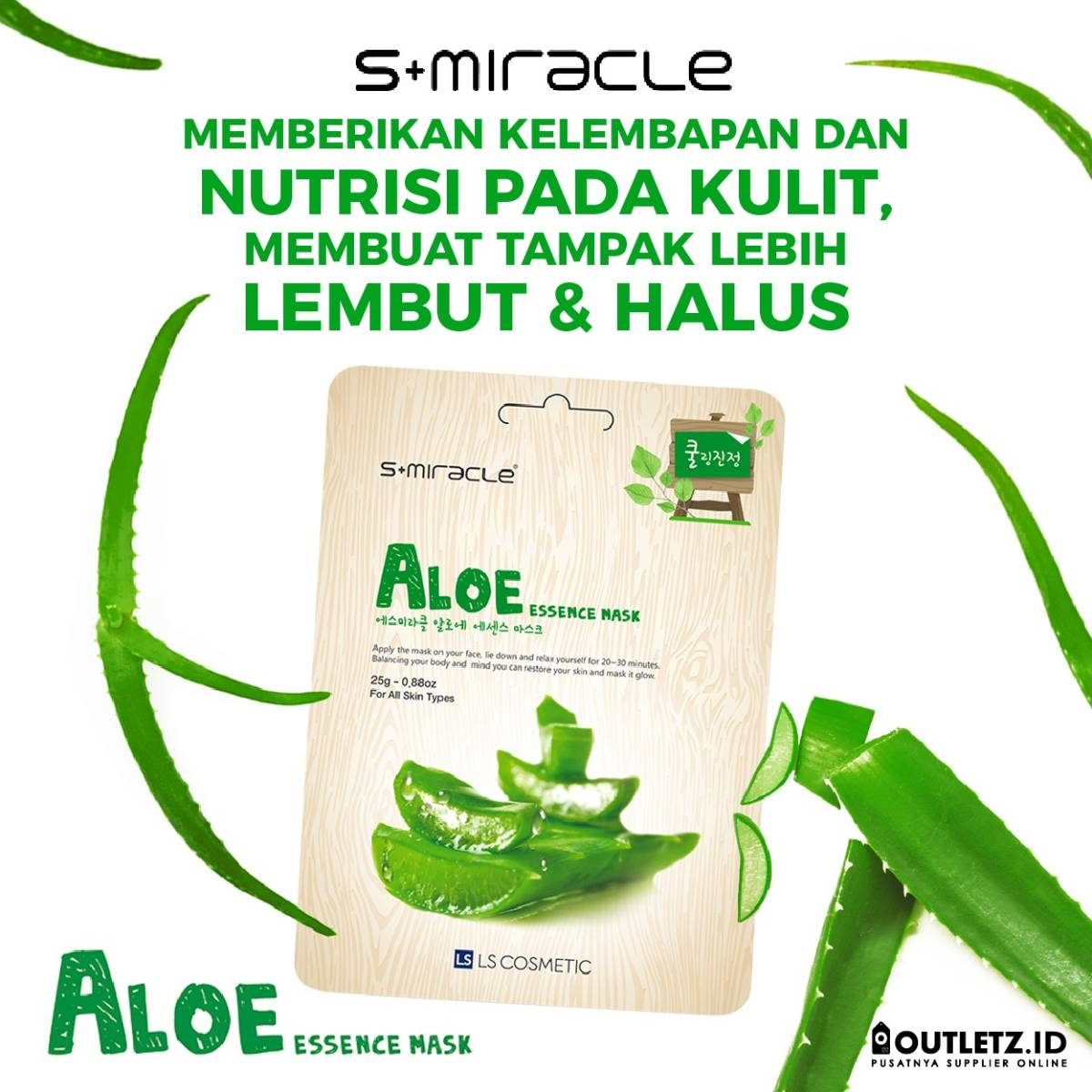 Masker Wajah Korea Aloe -s+miracle Aloe Essence Mask