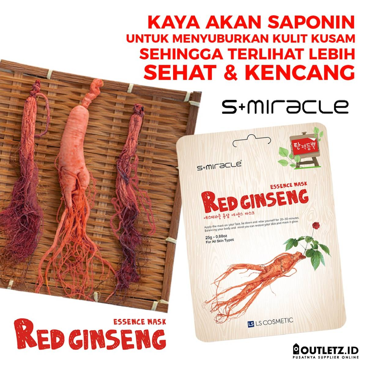 Masker Wajah Korea Red Gingseng - S+miracle Red Ginseng Essence Mask