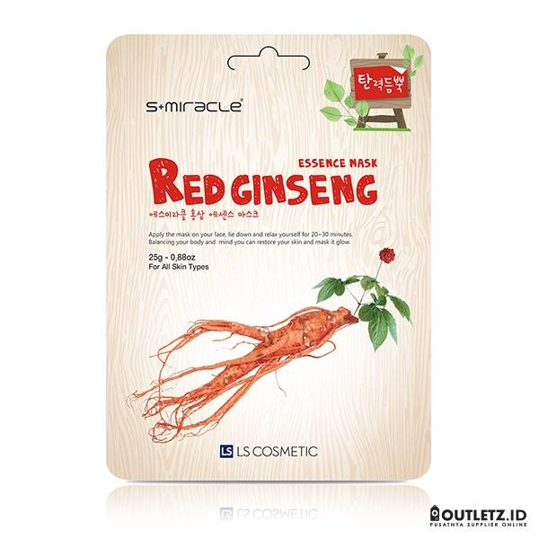 Masker Wajah Korea Red Gingseng - S+miracle Red Ginseng Essence Mask1