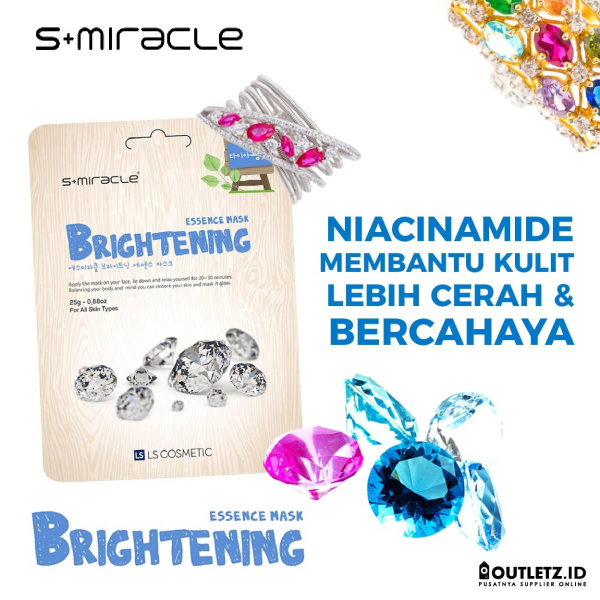Masker Wajah Korea Brightening - S+miracle Brightening Essence Mask0