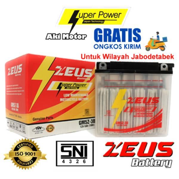 Aki Motor Basah Zeus Gm5z-3b Kit (honda Supra, Yamaha Mio, Jupiter)