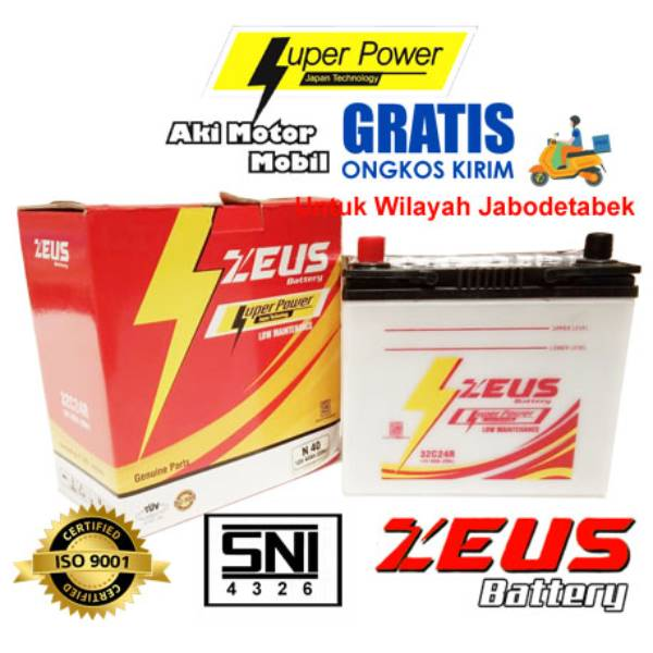 Aki Mobil Basah Zeus N40 - 32c24r Lm 40a - Honda Civic Accord Old