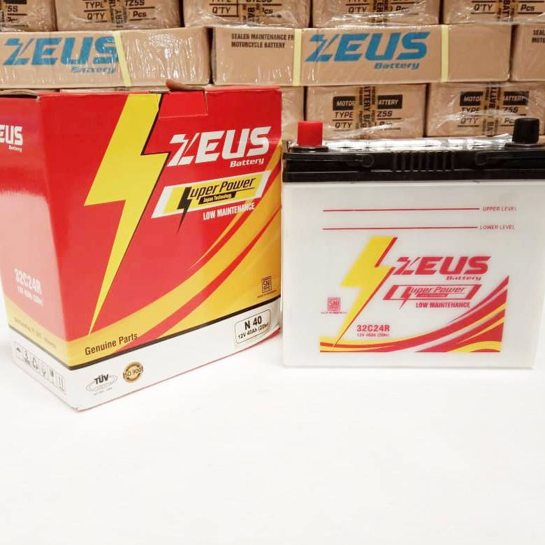 Aki Mobil Basah Zeus N40 - 32c24r Lm 40a - Honda Civic Accord Old1
