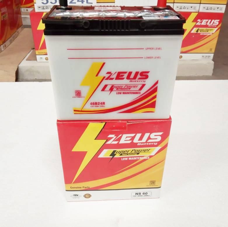 Aki Mobil Basah Zeus Ns60 - 46b24r Lm - 45ah - Toyota Daihatsu Suzuki Peugeot Mazda1